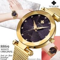 Jam Tangan wanita original WWOOR 8869 Emas Kaca starry Anti Air Stai