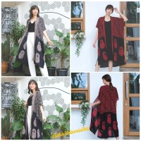 Outer Batik Long Tunik Cardigan. Jumbo Big Ukuran Besar - Doll Boneka