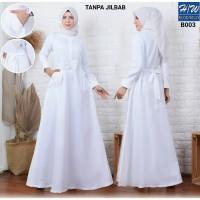 AGNES - H/W Baju Gamis Putih Wanita Busana Muslim Lebaran Terbaru B003