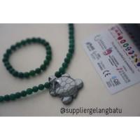 KALUNG kura kura Ginsamyong hijau giok paket hemat bonus kalung terapi