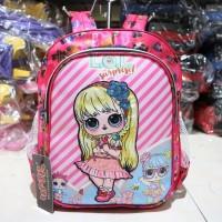 Tas Ransel Anak Cewek Motif Lol Pink Lampu Back Pack Sekolah TK PAUD