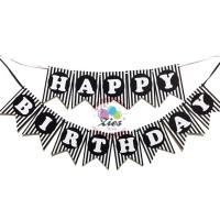 Banner happy birthday / bunting flag ulang tahun motif hitam salur