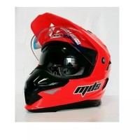 Helm MDS Full Face Super Pro Cross Merah Stabilo Red Fluo Double Visor