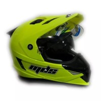 Helm MDS Full Face Super Pro Kuning Stabilo Yellow Fluo Double Visor
