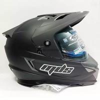 Helm MDS Super Full Face Pro Moto Cross Hitam Doff Polos Double Visor