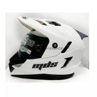 Helm MDS Full Face Super Pro Moto Cross Putih Glossy Double Visor