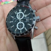 jam tangan sports otomatis chronograph dial hitam otomatis