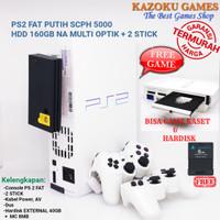 PS2 PS 2 SONY PLAYSTATION 2 FAT SCPH5000 PUTIH 160GB NA OPTIK + STICK