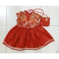 PROMO Dress Anak Bayi Perempuan Imlek Cheongsam Shanghai Red Bonus Tas