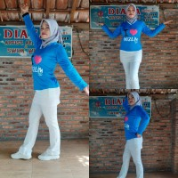 Setalan baju senam muslim pakaian olahraga wanita Biru - Biru, M
