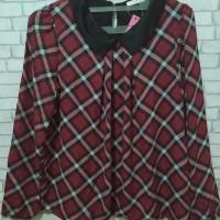 fashion blouse kemeja atasan wanita model kotak kotak merah terlaris