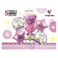 Balon Set Happy Birthday Pink 5 in 1 / Balon HBD / Balon ulang tahun