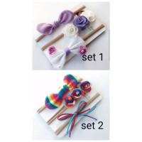 new !! set 3pcs headband nylon untuk bayi anak bandana newborn
