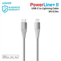 Kabel Charger Anker PowerLine+II USB-C To Lightning 3Ft Silver - A8652