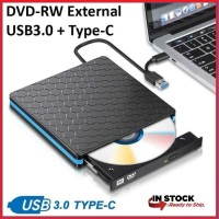External DVD RW Burner 2 in 1 Type C - USB 3.0 Slim Optical Drive