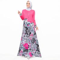 Long Dress Gamis maxi Wanita Muslim kombinasi warna - Jfashion Ran