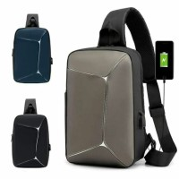 Tas Selempang Pria Tas Gadget HP Sling Bag New Model USB Port US007