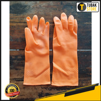 Sarung Tangan Karet Latex / Anti Slip Latex Dot 32cm / Kuning Orange