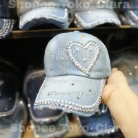 Topi wanita import motek LOVE SAMPING topi cewek gaul blink