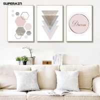Superain Gratis Ongkir Nordic Geometric Pattern Wall Art Poster