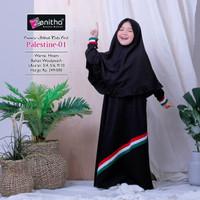 Palestine-01 Baju Gamis Anak Perempuan By Zenitha - Hitam, 3-4 tahun