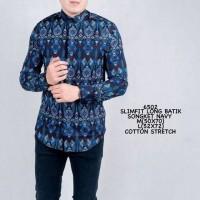 Kemeja Batik Pria Panjang Songket Motif Parang Biru Slimfit Casual