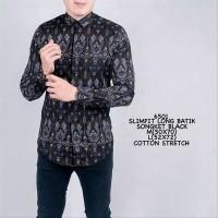 Kemeja Batik Pria Panjang Songket Hitam Motif Parang Slimfit Casual