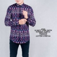 Kemeja Batik Pria Panjang Songket Motif Parang Ungu Slimfit Casual