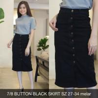 Rok Midi Jeans Wanita 7/8 Button Black Skirt Hitam Stretch Big Size