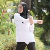 OLLA RAMLAN Top Long Sleeve Baju Olahraga Muslim White