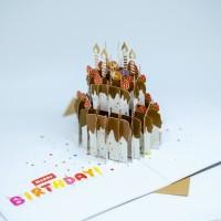 MURAH! KARTU UCAPAN 3D BENTUK HAPPY BIRTHDAY CAKE KUE ULANG TAHUN