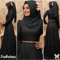 Hijab Sabrina black gamis brukat hitam busana muslim terbaru termurah
