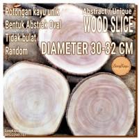 Abstract Wood Slice 30-32cm Potongan kayu unik abstrak talenan nampan