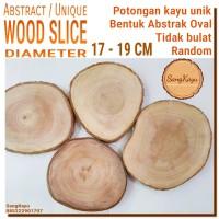 Abstract Wood Slice 17-19cm Potongan kayu unik abstrak talenan nampan