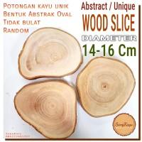 Abstract Wood Slice 14-16cm Potongan kayu unik abstrak nampan talenan