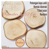 Abstract Wood Slice 8-10cm Potongan kayu unik abstrak tatakan coaster