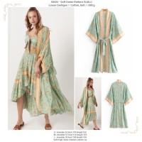 Outer Long Kimono panjang Motif Vintage Hijau Tosca Import Premium