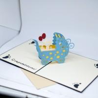 KARTU UCAPAN BABY SHOWER KARTU SELAMAT KELAHIRAN BAYI POP UP 3D