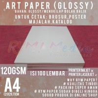 Kertas Art Paper 120 gsm A4 isi 100 Lbr / Bahan Brosur Glossy 120 gram