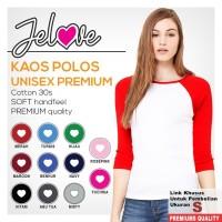 Jelove-Kaos Polos Raglan Wanita Lengan 3/4 Cotton 30s - Putih Ukuran S