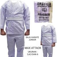 baju karate anak frasser max attack bahan lebih bagus uk 3 4 5 6 dan 7