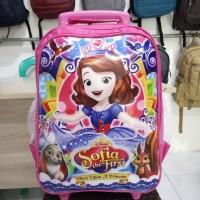 Tas Troli Dorong Koper Anak Perempuan TK Motif Sofia Pink Awet Trendy