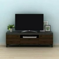 Rak Tv Audio Meja Tv Cabinet Meja tv Minimalis - Brown Walnut Stone
