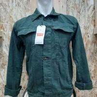 Jaket Jeans Pria Warna Merah Abu Kuning M L XL - Merah, S