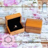 Kotak Cincin Kayu Seserahan Brown Rustic Wood Ring Box
