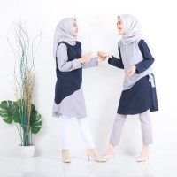 Baju Atasan Wanita Aera Tunik Blouse Baju Muslim Blus muslim - Grey