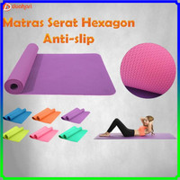 Matras Yoga Premium Anti Slip Model Serat Hexagon Alas Senam Olahraga
