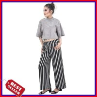Kulot Salur Crepe Seri Warna Celana Panjang Wanita Strip Stripe Jumbo