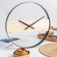 UCHII Exclusive Wall Clock Wooden Steel   Jam Dinding Analog Minimalis
