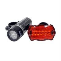 Best LED 1 Set Lampu Senter Sepeda Depan dan Belakang with Bracket